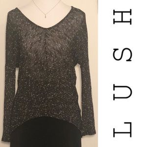 LUSH Black & White Sheer Sweater